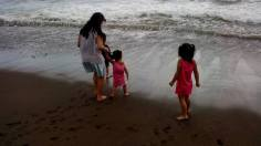My kids while playing at the shore