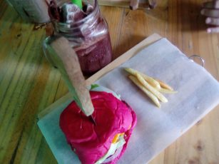 pink burger in antipolo